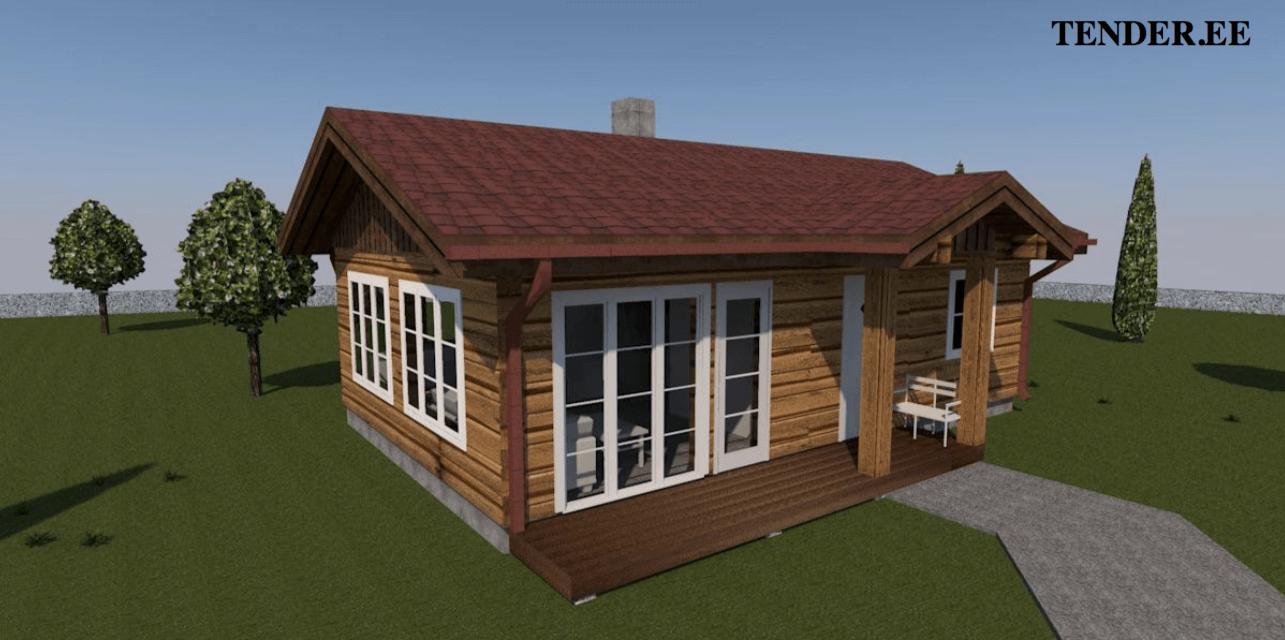 3D-näkymä Tenderin rakentamasta hirsitalosta. margus@kasinveistetythirsitalot.eu +372 511 6172